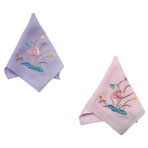 Two Pieces Of Elegant And Retro Lotus Flower Embroidered Handkerchiefs-f