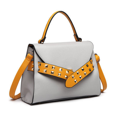 (Grey & Yellow) Miss Lulu Faux Leather Studded Belted Handbag