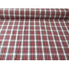 "Tartan - Red / White - 100% Cotton Fabric by the metre 44"" / 112cm wide"