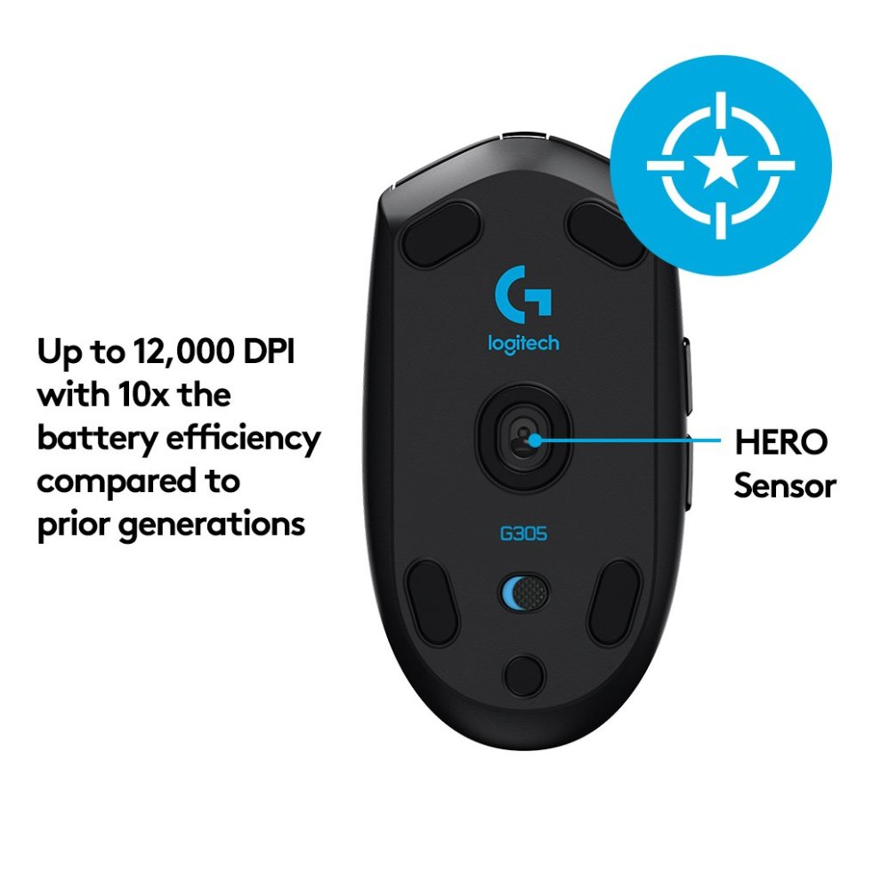 Logitech G305 Wireless Gaming Mouse Hero Sensor (12000 DPI, Lightweight, 6  Programmable Buttons, 250h battery life 1ms polling rate