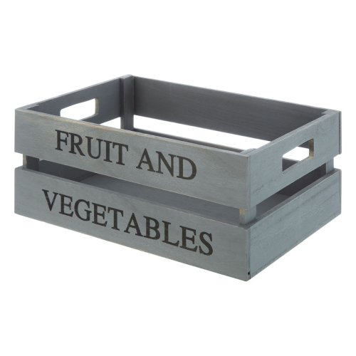 Fruit and Vegetables Crate, Grey, Paulownia Wood