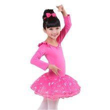 Comfortable Leotard Dress Ballet Long Sleeve Tutu Skirt Ballerina Dance Costumes, D