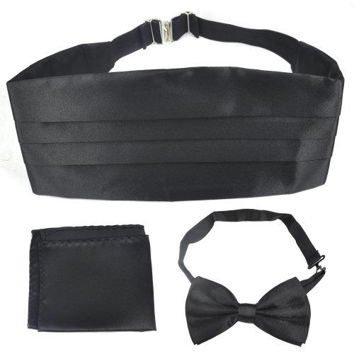 TRIXES Italian Bow Tie and Hanky Set Black