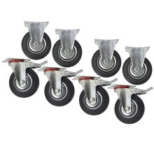"5"" (125mm) Rubber Fixed and Swivel With Brake Castor Wheels (8 Pack) CST06_08"