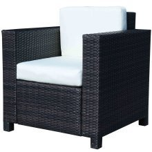 Outsunny Single Cube Aluminum & Rattan Garden Sofa Chair
