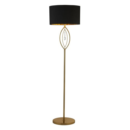 Searchlight Crown Gold Floor Lamp Black Oval Shade With Gold Interior