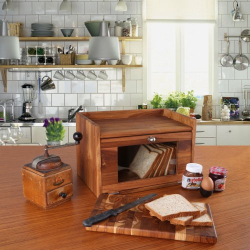 Teak Wooden Bread Box without Chopping Board