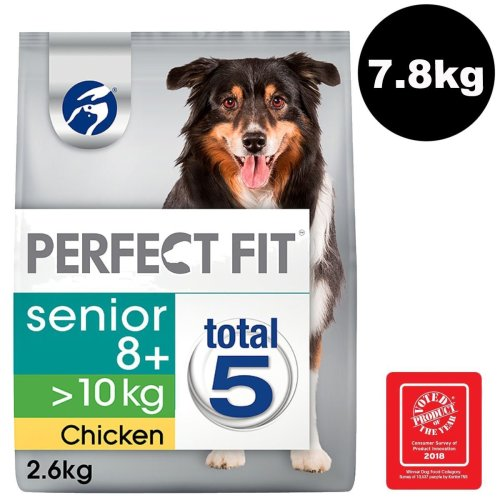 Perfect Fit Dog >10kg Complete Dry Senior 8+ Rich In Chicken 3x2.6kg