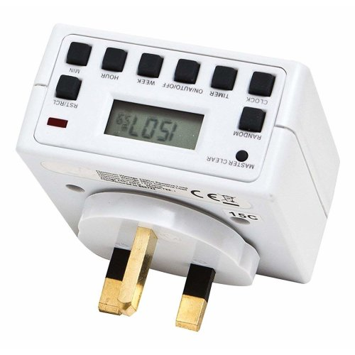 Plug-in Mains Timer with LCD Digital Display 12/24 Hour 7 Day