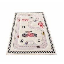 Little Helper 3D Childrens Rug & Play Mat, Race Track, Cream 100x150cm