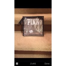 Victoria's Secret PINK Cosmetic Travel Bag Clear Black Zippered
