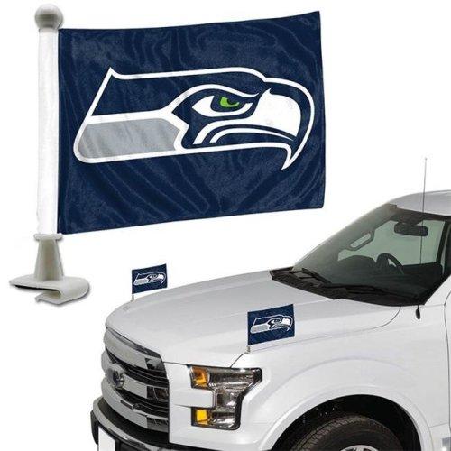Team ProMark 84814 4 x 6 in. Seattle Seahawks Ambassador Car Flag, Set of 2