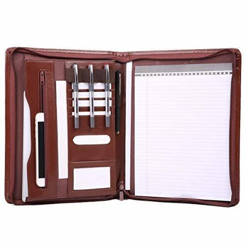 Leathario A4 File Folder Padfolio Writing Pad Business Presentation Folder Portfolio (Brown-A4-4L)