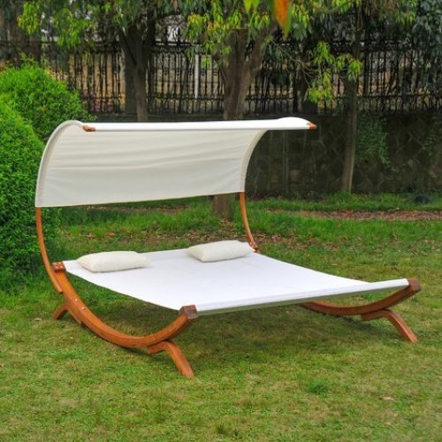 Outsunny Wooden Bed Lounger with 2 Pillows & Canopy