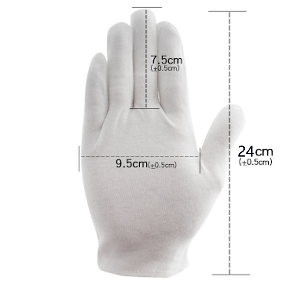 Inspection Gloves Coin Silver Jewelry Stamps HEAVY DUTY White Cotton XL 1x Pair