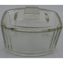 Vintage art deco rectangular glass pot and lid