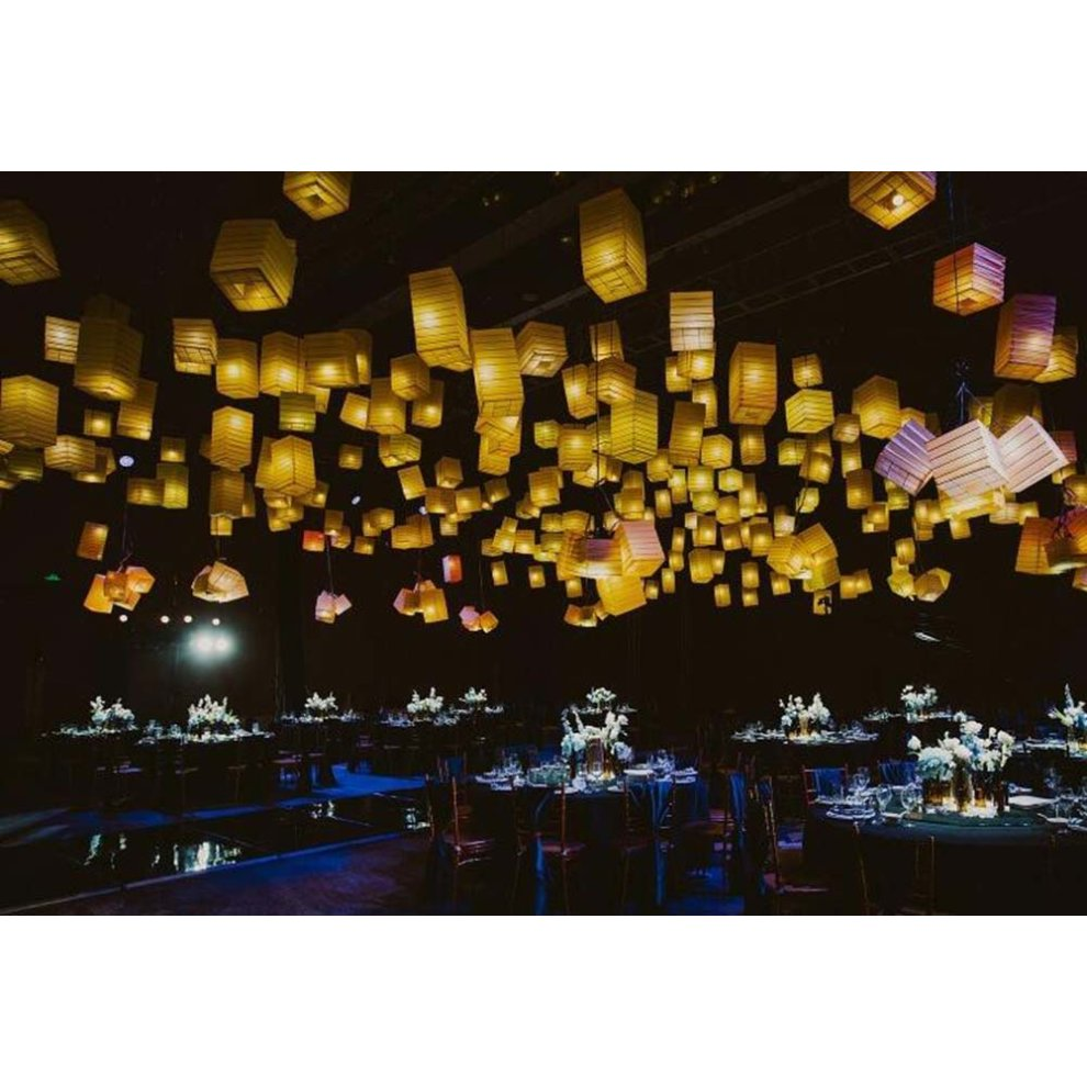 Yellow Square Japanese Style Hanging Lantern Decorative Paper Lantern