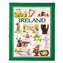 Iconic Ireland Tea Towel Souvenir Gift Green Irish Harp Castle Clover Guinness