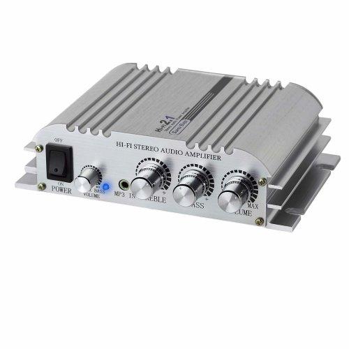 LiNKFOR Mini Amplifier Hi-Fi 2.1 CH Class D Stereo Amplifier Amp 2x40W Aluminum Alloy Solid Case High Power Amplifier DC 12V 5A Super Bass...