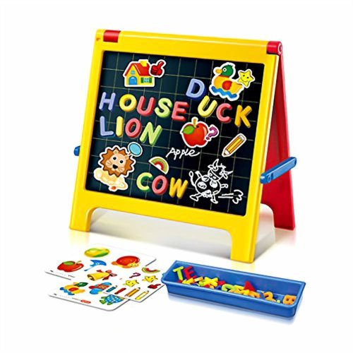 Creative Foldable Children Black/ White Double Sided Drawing Board with Magnetic Letters Alphabet Art Magnetic Blackboard Desk Table Top Easel Toy...