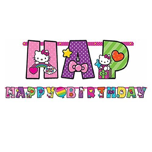 """Adorable Hello Kitty Rainbow Jumbo Add-An-Age Letter Banner Birthday Party Decoration (1 Piece), Multi Color, 10 1/2' x 10""""."""