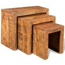 Antique-style Mango Wood Set of 3 Nesting Tables
