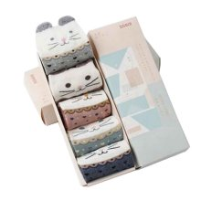 Set of 5 Cotton Cute Middle Tube Socks with Box [B]