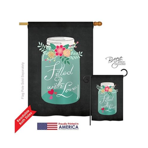 Breeze Decor 01051 Valentines Filled with Love 2-Sided Vertical Impression House Flag - 28 x 40 in.