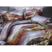 Duvet Cover Set Lying Lion 3D Effect Bedding Sets and Sheet, Double
