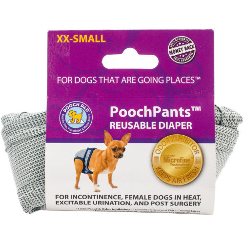 PoochPants Reusable Dog Diaper-XX-Small-Up To 4lbs