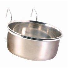 Trixie Stainless Steel Bowl With Holder, 600ml - Holder Sizes Bird Cup Cage -  bowl stainless steel holder trixie sizes bird cup cage coop 600 ml