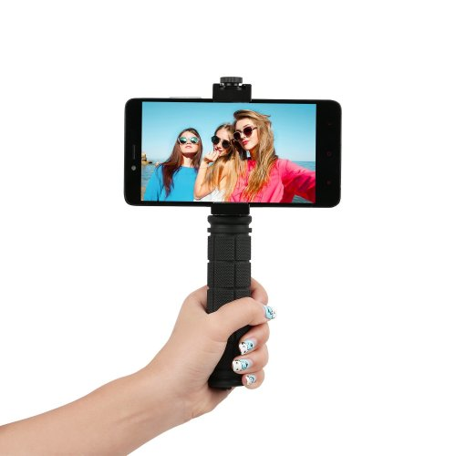 Smartphone Tripod Mount with Hand Grip & Cold Shoe Mount - All Metal Heavy-Duty Handheld Stabilizer and Tripod Mount for Smartphones, camera or...