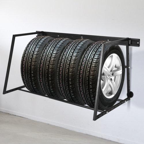 Tire Wheel Wall Mounted Storage Rack Heavy Duty Steel