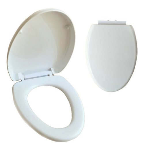Thin plastic SOFTS CLOSE TOILET SEAT WHITE ROUNDS OVAL BATHROOM HEAVY DUTY LINN
