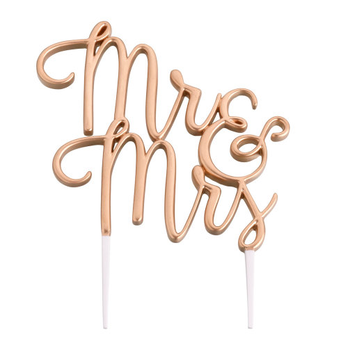 Gold Mr. and Mrs. Wedding Cake Topper