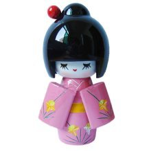 Cute Shy Girls Japanese Kimono Doll Toy for Home Office Desk Decorative, Pink