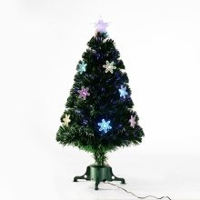 Homcom 3ft Fibre Optic Artificial Christmas Tree With LED Snowflakes