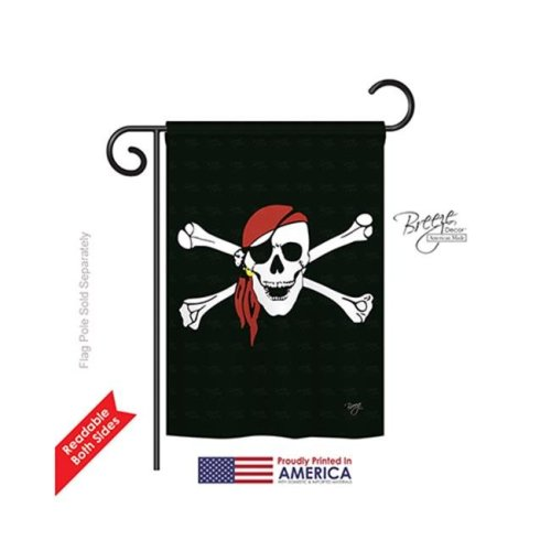 Breeze Decor 57042 Pirate Red Bandana 2-Sided Impression Garden Flag - 13 x 18.5 in.