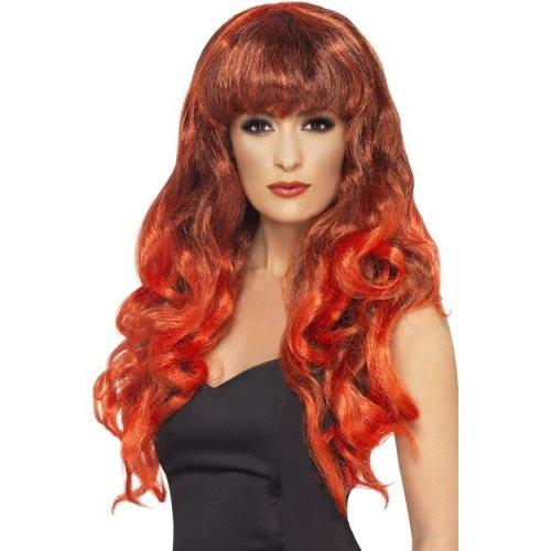 Smiffy's Siren Wig - Red/black -  wig fancy dress siren ladies red long curly halloween fringe smiffys accessory