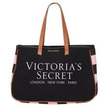 Victoria's Secret Large Canvas Tote Bag Black