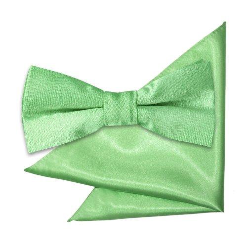 Lime Green Plain Satin Bow Tie & Pocket Square Set for Boys