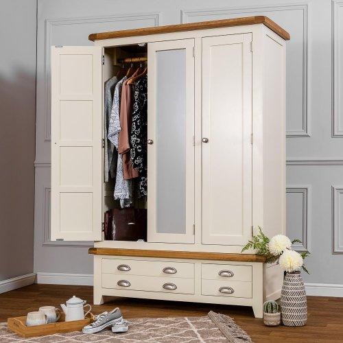 Hampshire Ivory Painted Oak Triple Wardrobe