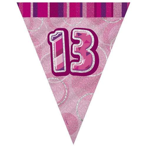 Age 13 Birthday Flag Bunting Pink Glitz