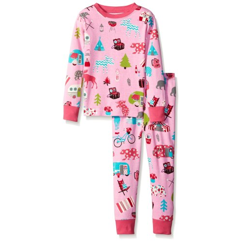 Little Blue House by Hatley Girl's Kids Pj Set-Glamping Pyjama, Pink, 8 Years