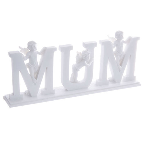 Cute MUM Letter Cherub Ornament on Base