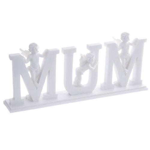 Cute MUM Letter Cherub Ornament on Base