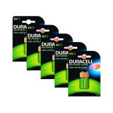 5 x Duracell 9V PP3 Block 170 mAh Rechargeable Batteries HR22 6LR61 HR9V DC1604