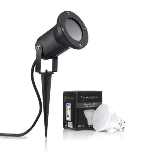 Auraglow Deep Recessed Garden Spike Light GU10 Holder IP54 Outdoor Uplighter - Warm White LED Light Bulb Included