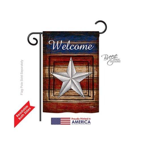 Breeze Decor 61066 Patriotic Vintage Welcome 2-Sided Impression Garden Flag - 13 x 18.5 in.