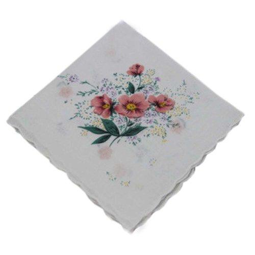 3 Pcs Retro Floral Print Handkerchiefs Ladies Cotton Pocket Handkerchief, #14